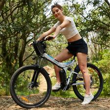 E-Bike 26 Inch Electric Bike Folding Bicycle 30KM/H Mountain Moped Cycling White