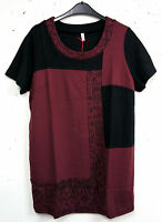 NEU tolles Damen Kurzarm Long Shirt in bordeaux schwarz Patchwork Optik Gr.44/46