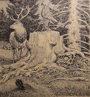 Eugen Ludwig HOESS (1866-1955) - Lithographie 1925: HIRSCH AM BAUMSTUMPF IM WALD