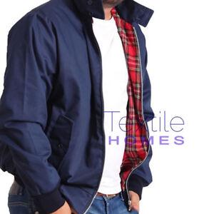 Mens Harrington Jacket With Tartan Lining Summer Zip Up Classic Bomber Coat