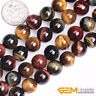 """Natural Multi-Color Tiger's Eye Gemstone Round Beads For Jewelry Making 15"""" YB"""