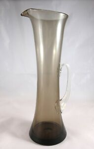 Vintage Retro Brown Tall Art Glass Pitcher Jug whitefriars