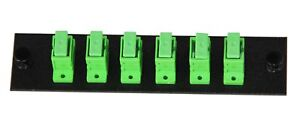 6 Pack SC/APC Adapter Panel (Single Mode - Loaded - Green Adapters)
