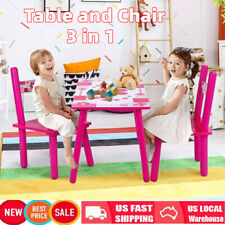 3 PCS Dining Set Table and 2 Chairs Kitchen Furniture Home For Baby Kids Pink