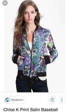 Women's Chloe K Chloe &Kate Floral Satun Baseball Jacket Size X Small