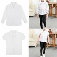 Spread Collar Girls Blouse Shirt White School Uniform Short / Long Sleeve Shirt