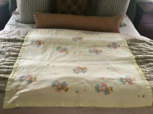 DunDee Blanket VTG 1987 Teddy Bear Rocking Horse Yellow Nylon Binding 37 x 46