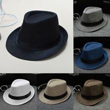 Unisex Paper Straw Crushable Fedora Panama Wide Brim Packable Summer Sun Hat
