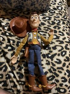 "Disney Store Pixar Toy Story Sheriff Woody 15"" pull-string talking Doll with Hat"
