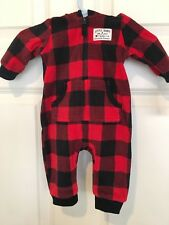 Carter's boys fleece jumpsuit w/hood Red/Black Check pattern Size 12 months NWT!