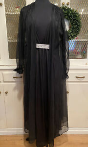 Vintage Fredericks of Hollywood Black Gown and Robe Womens Size 2X