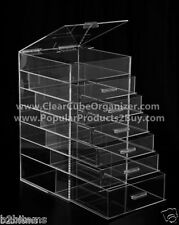Acrylic Lucite Clear Cube Makeup Organizer The Kardashians Display 6 plus lid