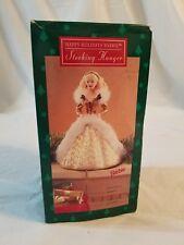 Hallmark Happy Holidays Faux Fur Trimmed Barbie Stocking Hanger 1995
