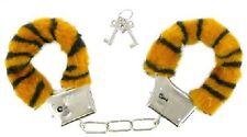 Accessoires coquins, jeu érotique : paire de menotte en fausse fourrure tigre