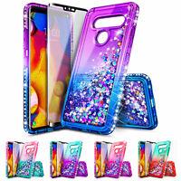 LG V35 ThinQ/V30/Plus/V30S Case | Liquid Glitter Bling Cover + Screen Protector
