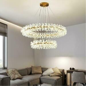 Modern Luxury Gold Metal led Crystal Chandelier Dining Room Light Garland Lamp