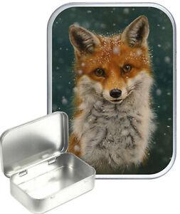 Fox Portrait Small Silver Hinged Gift Tin, 30ml Hinged Tobacco Tin, Craft Tin