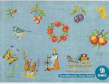 Scandinavian Cross Stitch Pattern Book Leaflet by DMC 85 Patterns Flowers Fruit