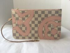 Auth New Louis Vuitton Neverfull Pouch Damier Azur Tahitienne Rose Clutch Bag