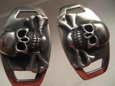 Skull Crossbones Boots Shoelace Plates Jolly Rebels Custom .925 Sterling