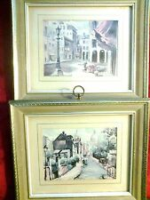 Vintage Pair Turner Wall Accessory ROBERT CHASE Gilt Framed PARIS Prints 9x11
