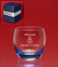 Personalised Engraved ICE BLUE Whisky/Brandy Tumbler Glass- Christmas Weddings