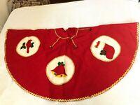 """Vtg CHRISTMAS Tree Skirt RED FELT Gold Braid Handmade From Kit 62"""" Wide + Bells"""
