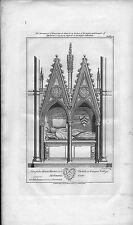 "1809 grabado grande del monumento de ""Walter de Merton"" obispo de Rochester"