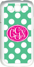 Interlocking Monogram Teal Green White Polka Dot Samsung Galaxy S3 Case Cover