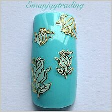 Nail Art 3D Decals/Stickers White Flowers With Gold Edging  #146