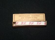 Ancien ruban initiales tissé rouge FS couture, mercerie