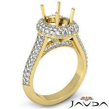 Diamond Engagement Huge Ring Pave 1.5Ct VS1-VS2 18k Yellow Gold Oval Semi Mount