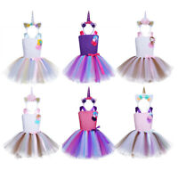 Girls Rainbow Costume Outfit Kids Rainbow Tutu Skirt Dress+Horn Princess Clothes