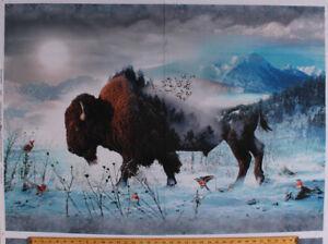 """31.75"""" X 44"""" Panel Bison Buffalo Nature Winter Landscape Cotton Fabric D483.18"""