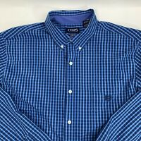 Chaps Men's Shirt Size XXL Blue Plaid Stretch Easy Care Long Sleeve Woven Casual
