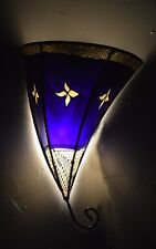 Moroccan Wall Sconces Lamp Goat Leather Light Fixture Sconce Henna Shade Purple