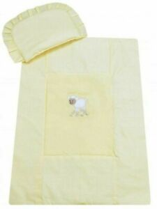 Baby Bedding For Stroller 70x80cm Yellow 2in1 Set Cotton Pillow and Quilt Sheep