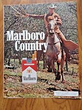 1972 Marlboro Man Country Cigarette Ad Smoking Roping Cowboy Horse