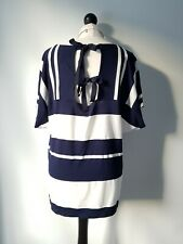 Phase Eight Navy Blue White Striped Batwing Cut Out Back Top UK 14
