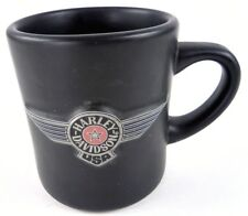 Harley Davidson FAT BOY Series Raised Wings Logo Matte Black Coffee Cup Mug