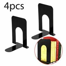 "Black Heavy Metal 4 Pairs 8"" Bookends Book-End Set Home School Office Stationery"