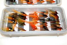 """8"""" x 4"""" C&F Design Plastic double sided box with  50 Hairwing Salmon flies (113)"""