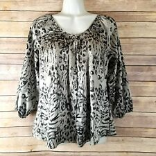 Animal Print Blouse Sz XS Zebra Leopard Satin Express Top Button Up Front Gray