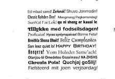 Terrific HAPPY BIRTHDAY x23 Multi-language Unmounted rubber stamp