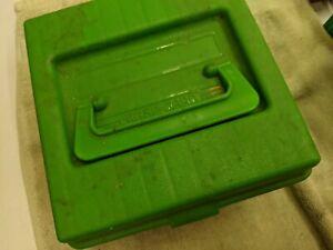 plastic reloading box, 100 round rifle cartridges, 338 etc