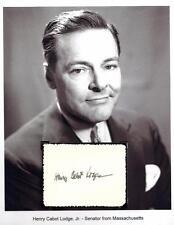 Henry Cabot Lodge Jr Autograph Senator Ambassador Vietnam Germany Nixon #1