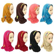 Kids Girls Muslim Hijab Cap Turban Scarf Islamic Wrap Shawls Ramadan Headwear