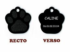 medaille gravee chien ou chat - modele grande patte de chat caline - noire