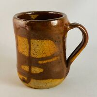 Petite Brown Salt Glazed Wheel Thrown Pottery Mug Signed Cari Norris