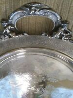 "ANTIQUE SILVERPLATE PLATTER  REED AND BARTON. 30"" Very heavy. Hand etched."
